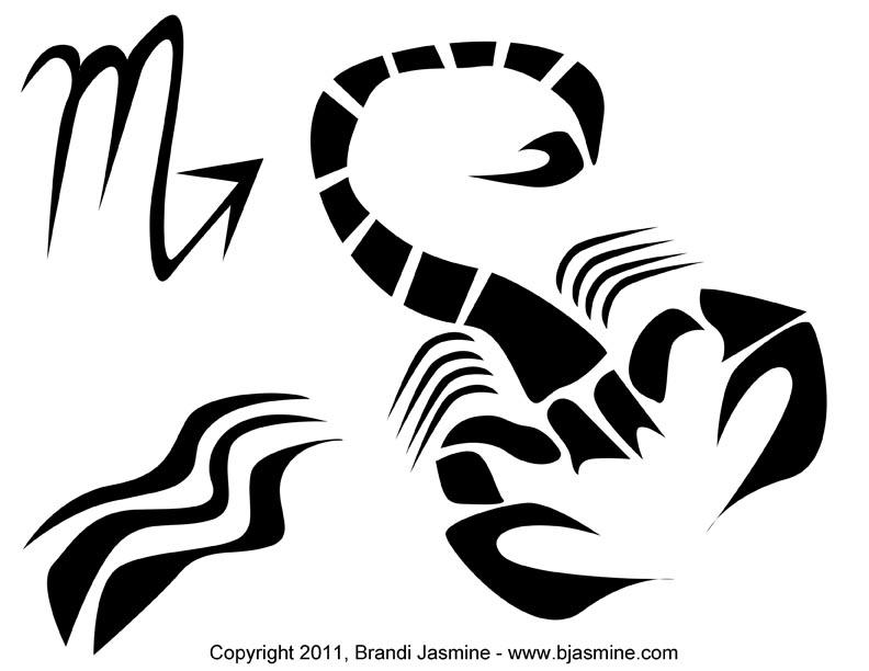 Scorpio Zodiac Sign Pumpkin Carving Pattern