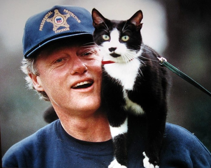 President Clinton and his cat Socks