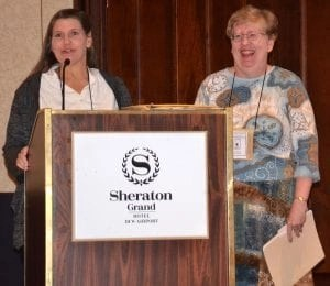 Dr. Lorie Huston, DMV, 2014 incoming CWA President is pictured with Su Ewing, CWA Immediate Past President.
