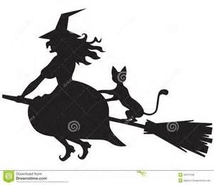 Black cat on witch's broom.