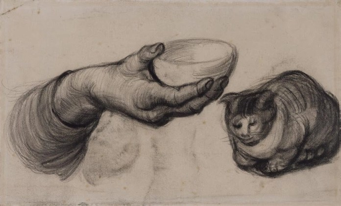 Vincent van Gogh, Hand with a Bowl, and a Cat, 1885