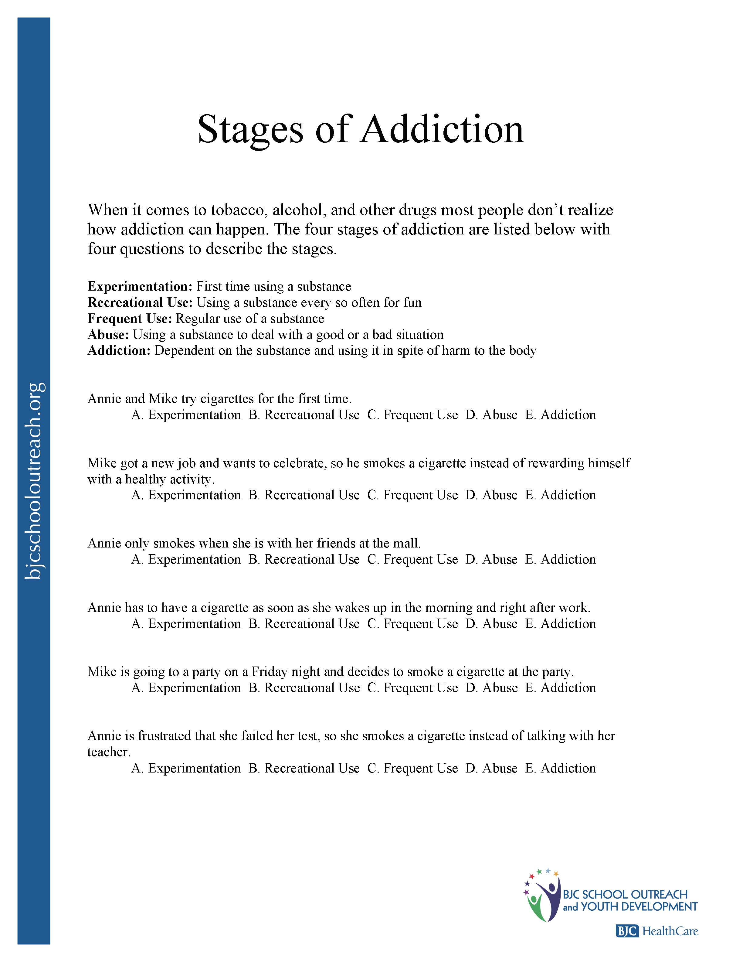 Denial Worksheet For Addiction