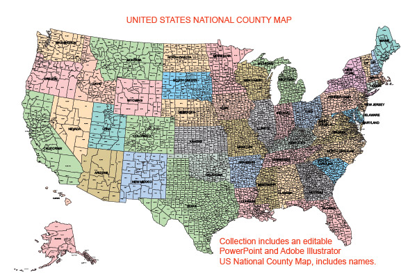 USA County World Globe Editable PowerPoint Maps for