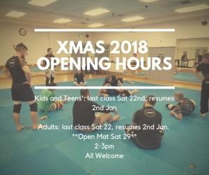Xmas Opening Hours 2018