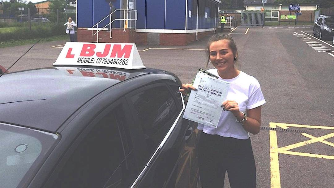 Congratulations Sarah on passing your driving test with BJM School of Motoring