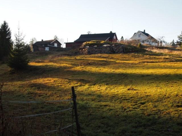 Holstad gård med naturbeitemark som Jernbaneverket har foreslått som deponiområde. (foto: Sven Brun)