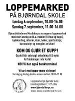 Loppemarked 6. og 7. september (Illustrasjon: Bjørndalskolenes musikkorps)