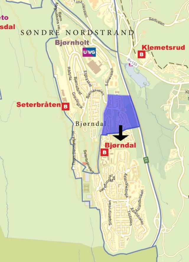 Forslag til nytt inntaksområde for Bjørndal og Seterbråten skole. (Kart: Utdanningsetaten, Oslo kommune)