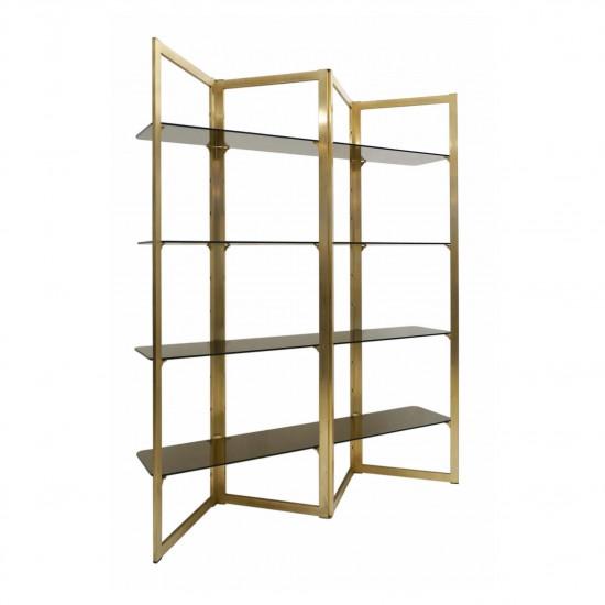 brass zig zag etagere with four glass shelves