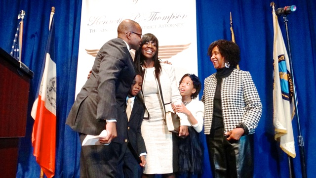 Kenneth Thompson shares a moment with his family after his swearing-in as Kings County District Attorney