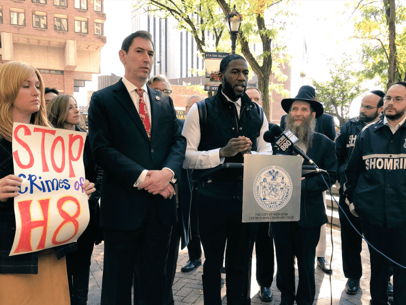 Councilmembers Chaim Deutsch (left), Jumaane Williams (middle) and community members gathered to take stand against recent anti-Semitic attacks