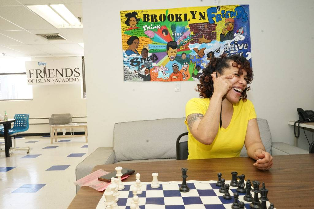 Friend's Brooklyn coordinator Venus Core in the Brooklyn officer, where youth members are always welcome. Photo by Russell Frederick.
