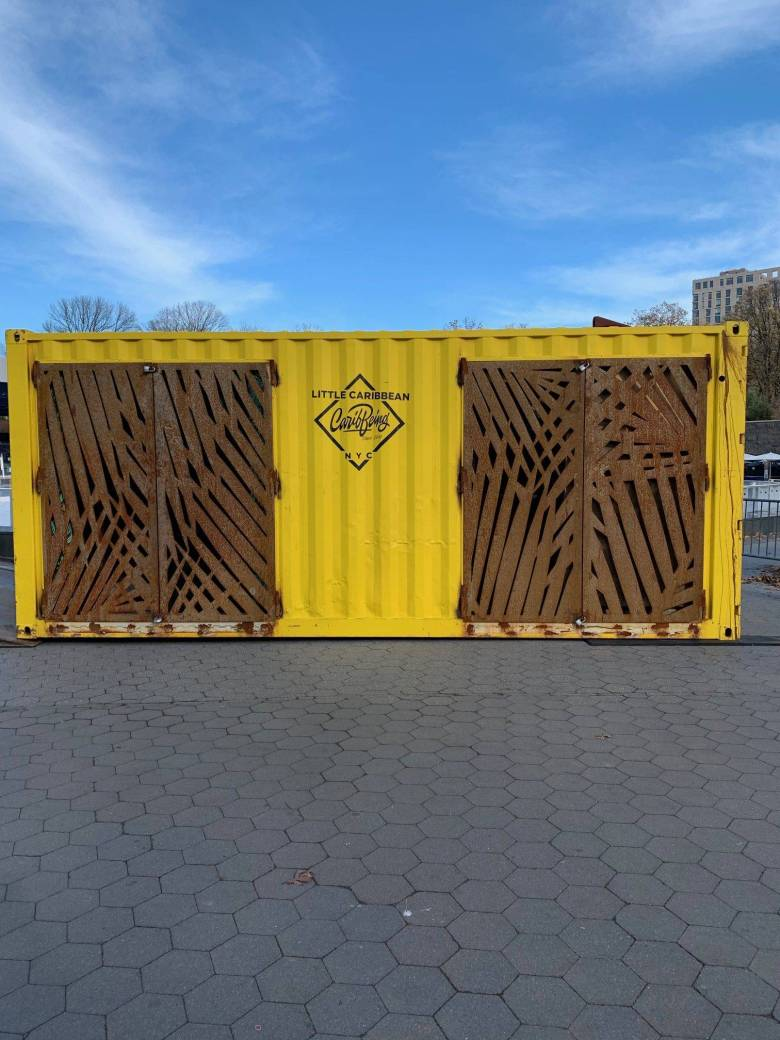 Shipping container repurposed for holiday shopping