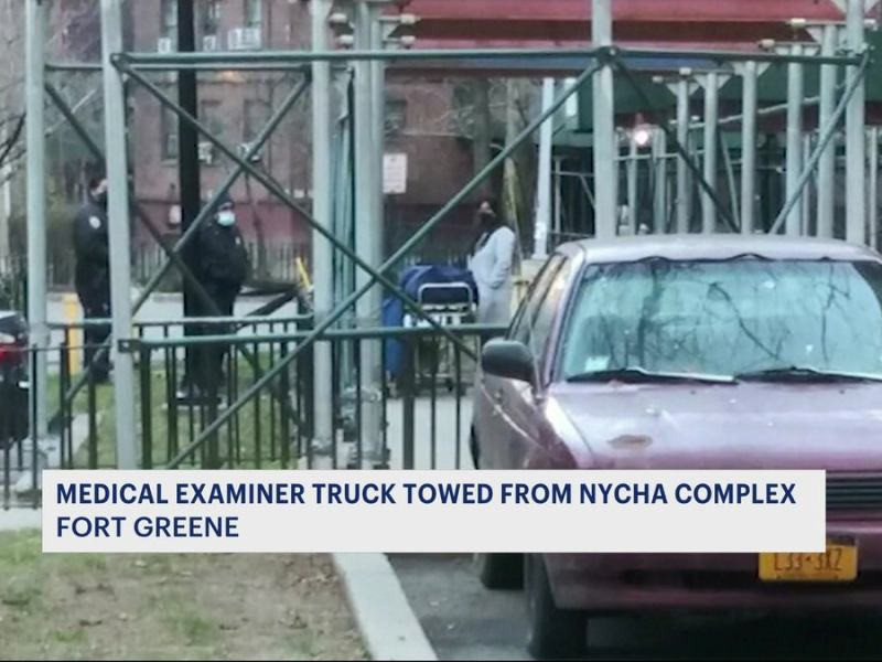 Medical examiner truck towed from NYCHA complex in Fort Greene