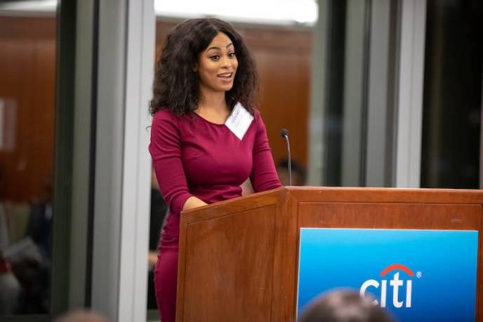 Former Npower student Daney Forbes speaking about her experience. Photo: Courtesy of NPower, Inc.