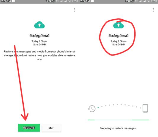 Restoring whatsapp messages