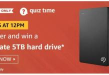 amazon quiz today Seagate 5TB Hard Drive