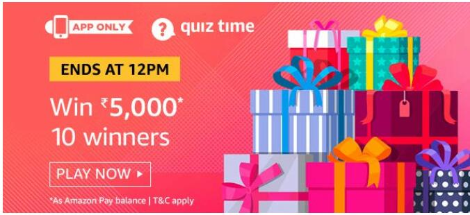 amazon today quiz 26 august Rs.5000