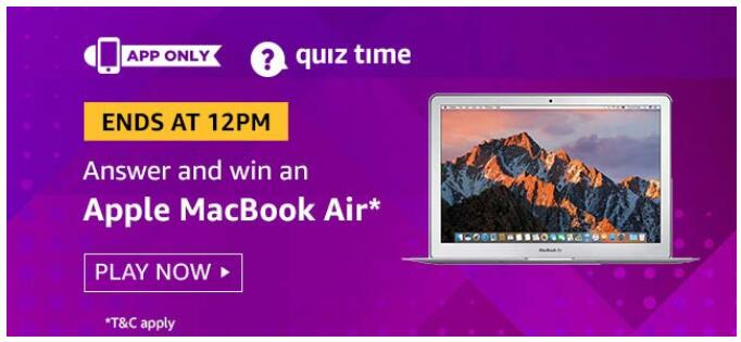 amazon today quiz answer 30 august apple macbook