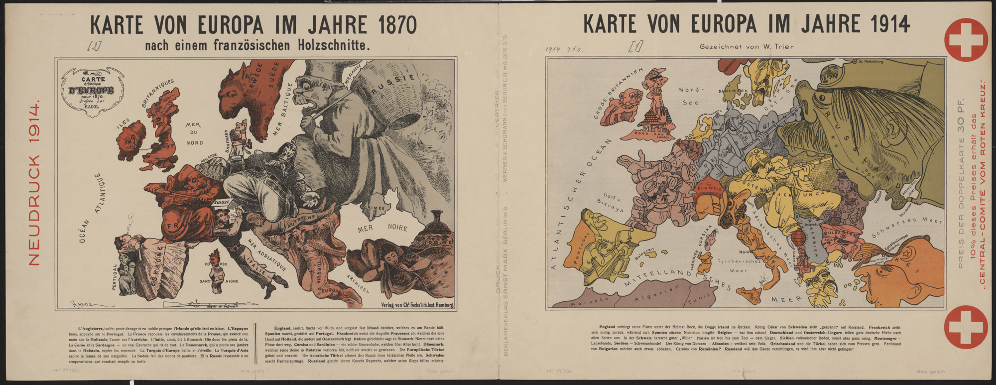 Drawn by German graphic artist Walter Trier, this map from 1914 depicts the personalities of different European countries.