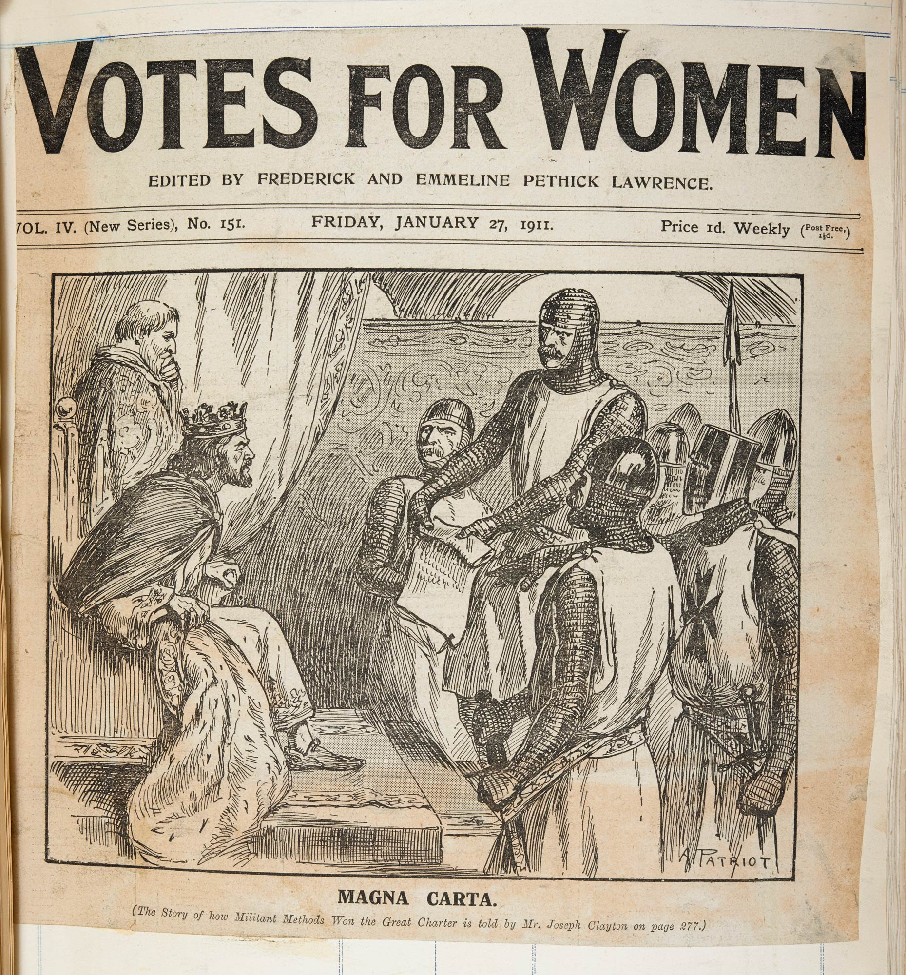 Front page from Votes for Women, the newspaper of the Women's Social and Political Union, in 1911