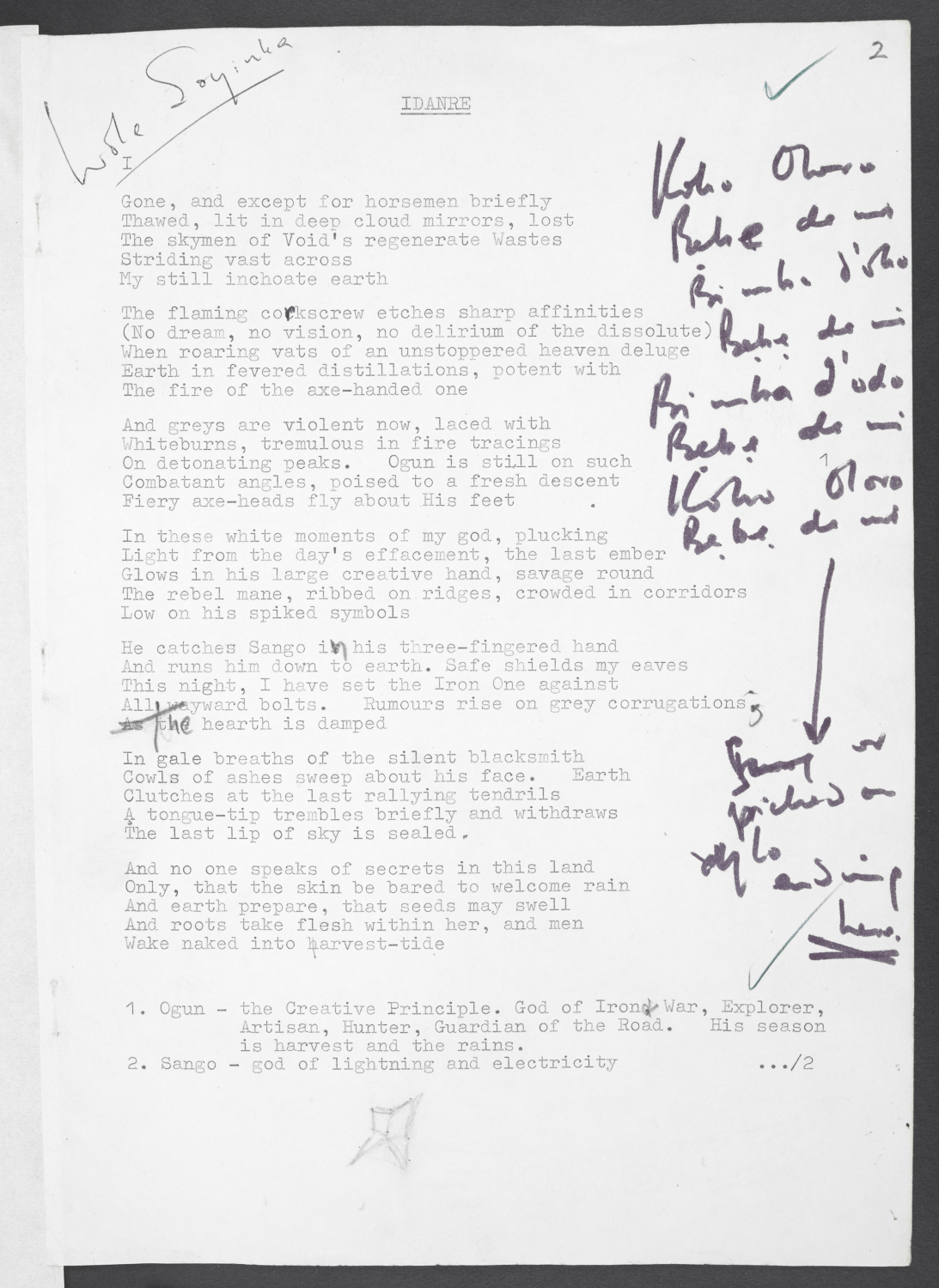 Selections from Wole Soyinka's annotated typescript of