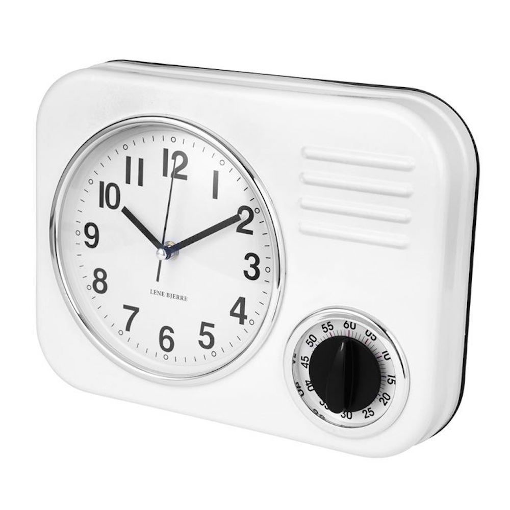 kitchen wall clocks white round table set lene bjerre clotille clock black by design retro amp timer