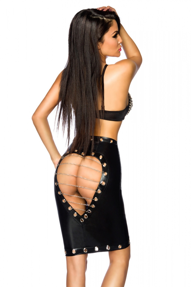 Wetlook Skirt with Cutout and chain details 3695