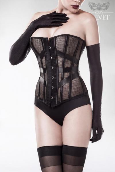 mesh overbust corset set