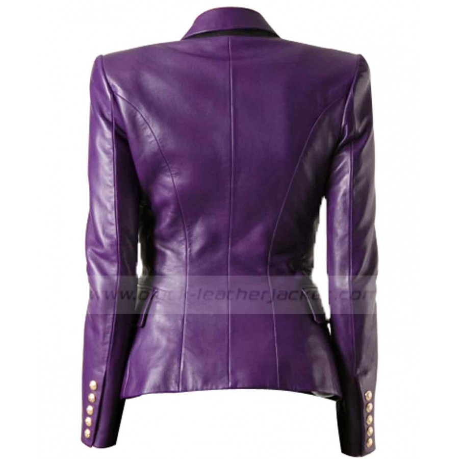 purple leather double breasted