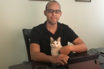 living the dream in puerto rico - david with tiki (cat)