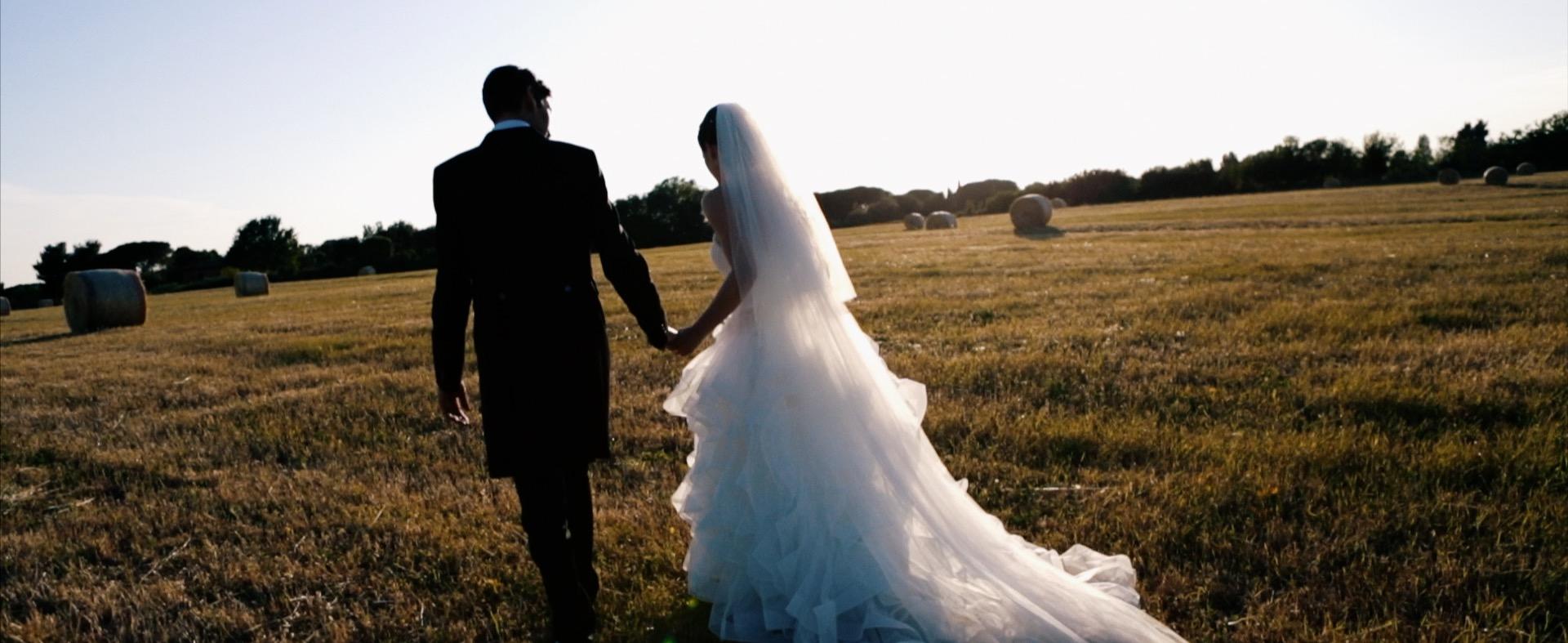 Matrimonio villa degli Orazi Basilica di San Bartolomeo all'Isola campo di grano