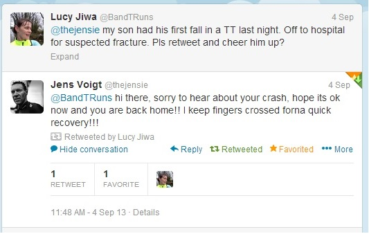 Tweet to my son, from Jens Voigt, officially the nicest man in pro-cycling