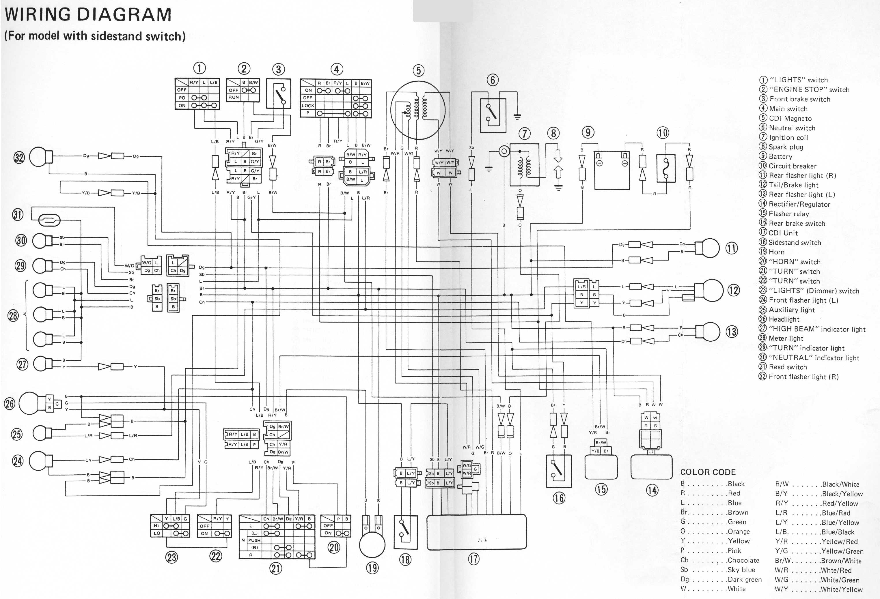 yamaha xt 250 wiring diagram kicker kisloc on 2000 v star 1100 ignition 650 ...