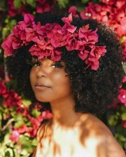 hair trend floral afro's