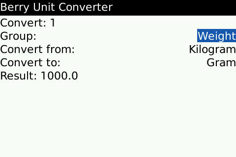 BerryUnitConverter free download for BlackBerry Bold