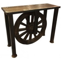 Vintage style console table with cart wheel