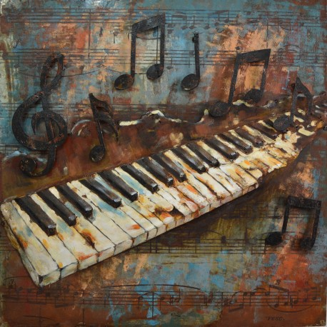 Piano Keys and Musical Notes 3D Metal Wall Art  Blackbrook Interiors