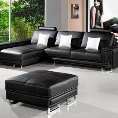 L Shaped Black Leather Sofa Set Harvey S Corner Collection T957 Modern Sectional Design Co