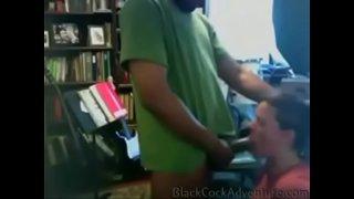 Throat fucked white slut chokes on the black dick