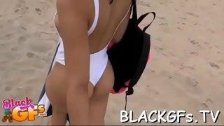 Black cutie rides dick on closeup