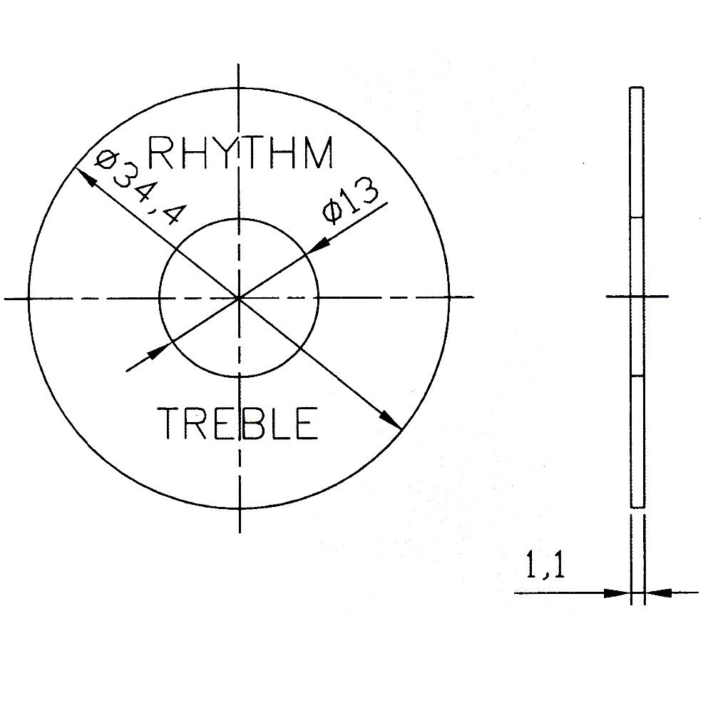 Rhythm/Treble Guitar Switch Plate
