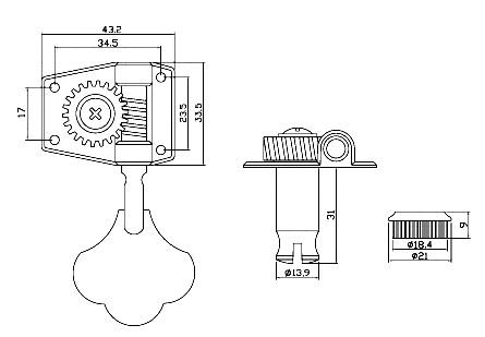 Bass guitar machine heads/tuners open gear in chrome 4 Line