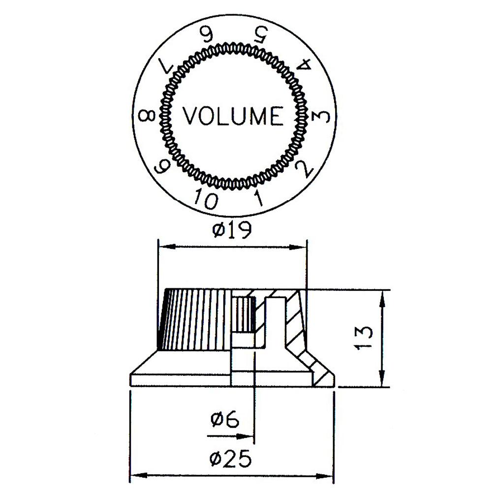 Control Knob Tone or Volume, 1-10 Scale
