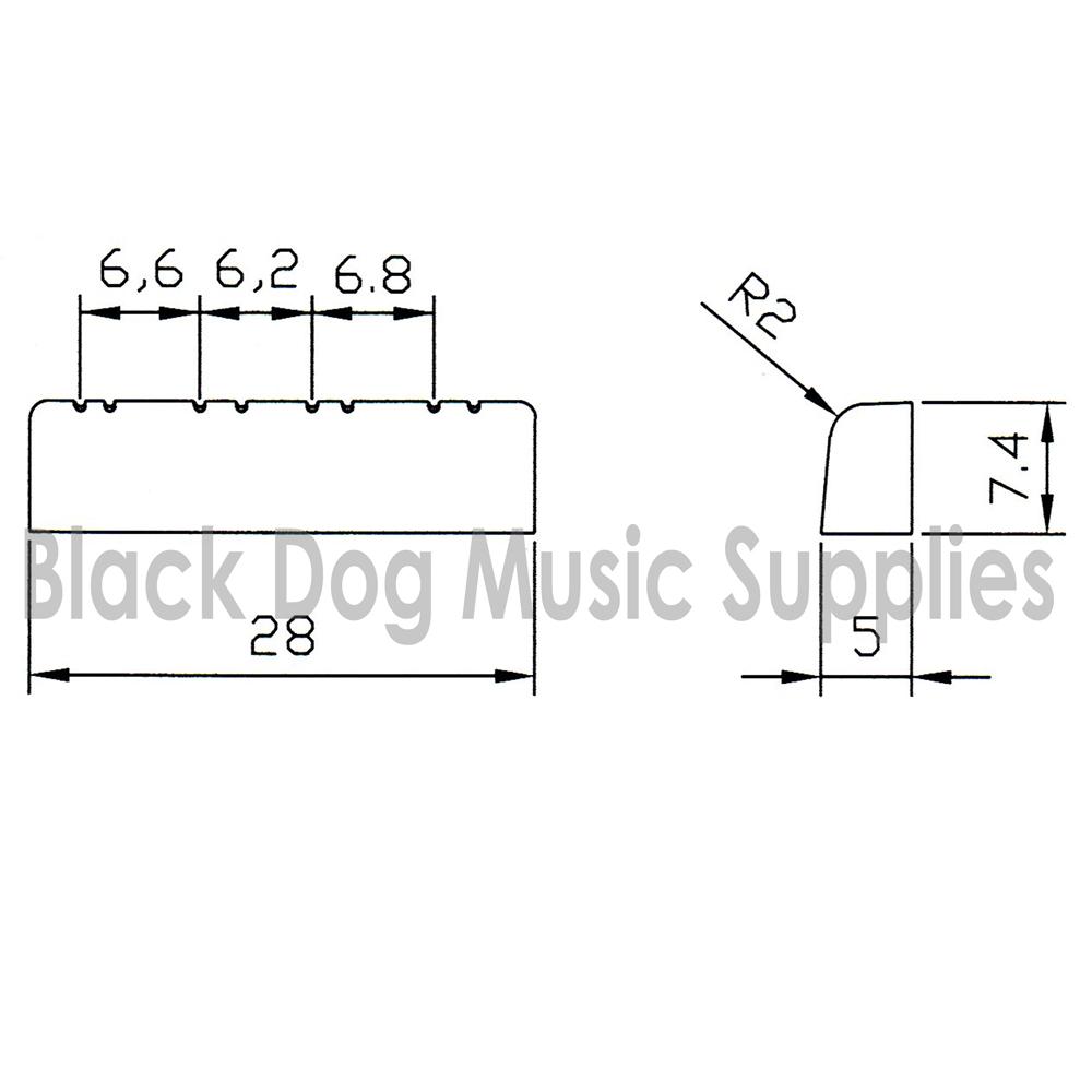 28 mm Mandolin Nut in White, Black or Ivory