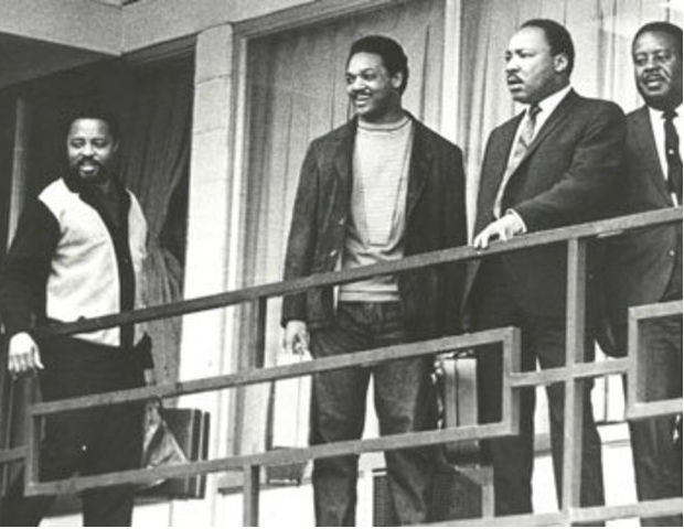 Martin Luther King, Jr., Jesse Jackson and Hosea Williams standing on the balcony outside the Lorraine Motel before King was shot.