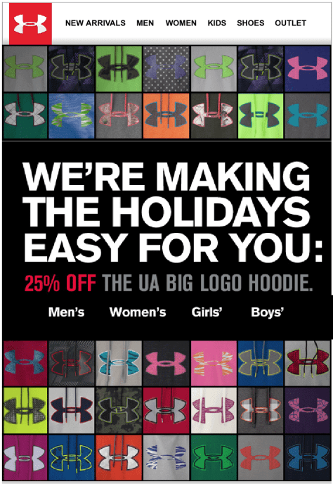 Under Armour black friday ad scan - page 1