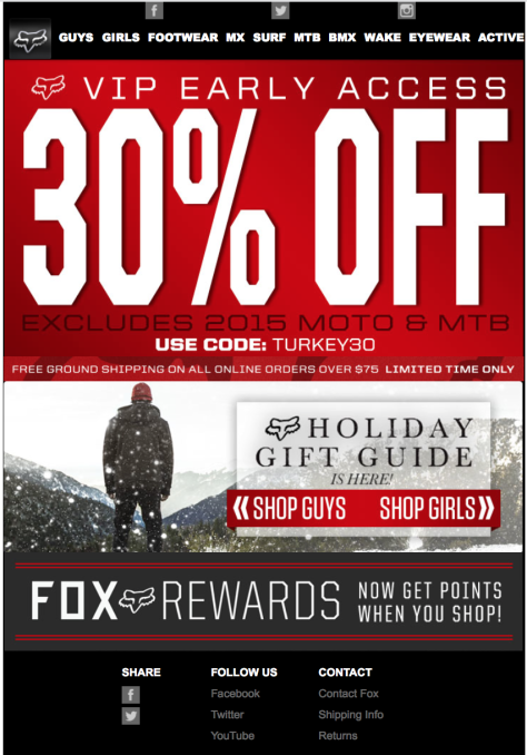 fox racing black friday ad scan - page 1