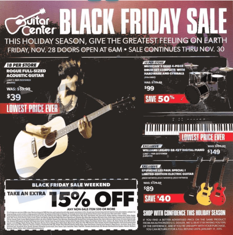 guitar center black friday ad scan - page 1