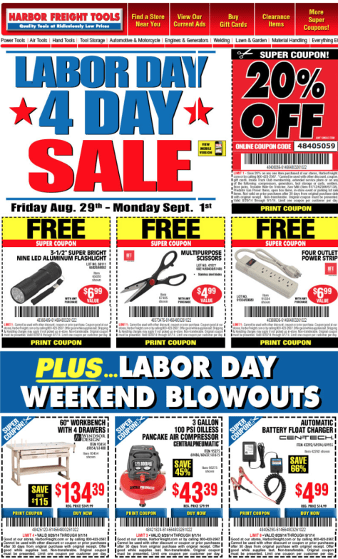 Harbor Freight Labor Day Sale - Page 1